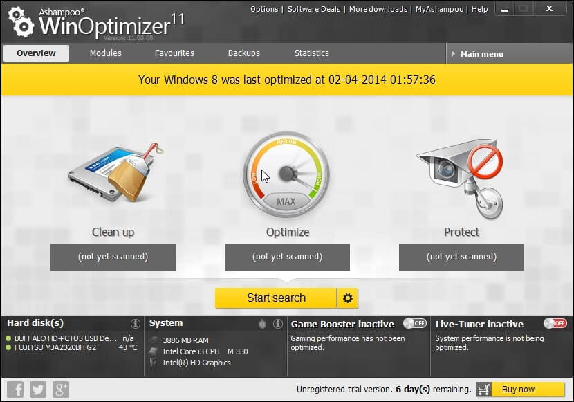 Ashampoo WinOptimizer 11, Sistem Optimizasyon