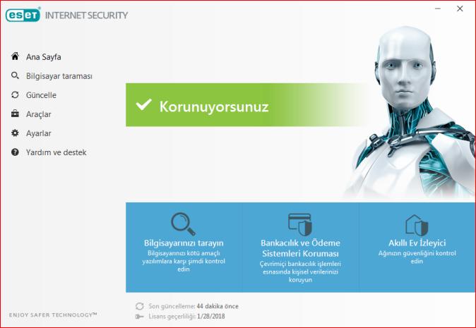 eset internet güvenliği 10 anahtar, eset internet güvenliği 2018